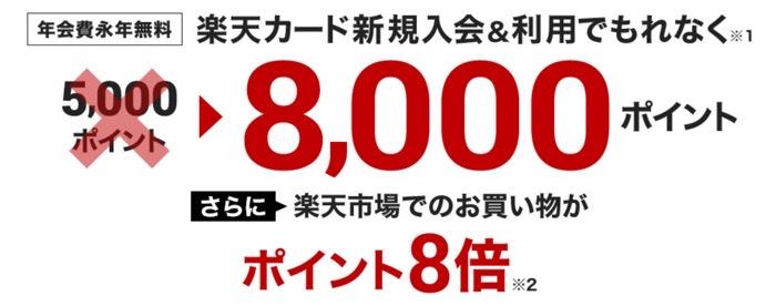2020年11月9日〜12日 楽天カード作って8000ポイント