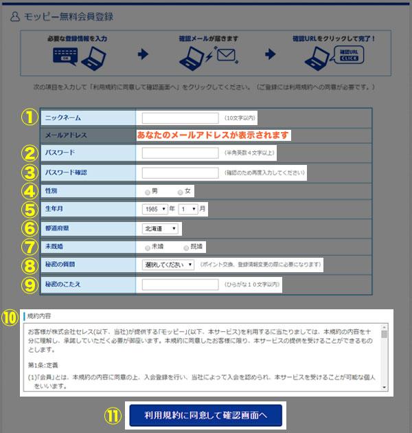 モッピーの会員登録手順6 会員情報の入力