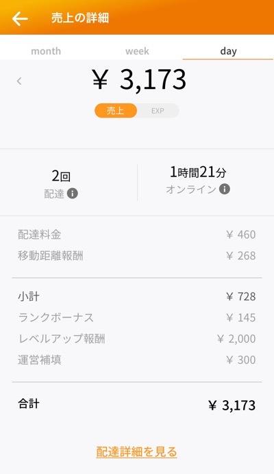 20200629 Menu配達2回で3,173円の報酬